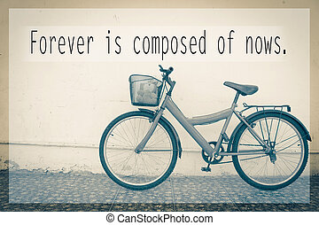 red bicycle - Inspirational quote on  blurred background
