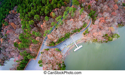 aerial view over lake wylie and boat marina