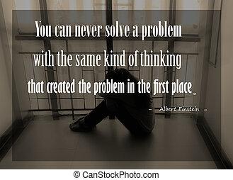 Inspirational quote by Albert Einstein on sunset blurred...