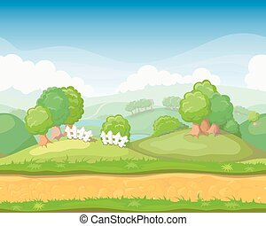 Cartoon cute country seamless horizontal landscape, game...
