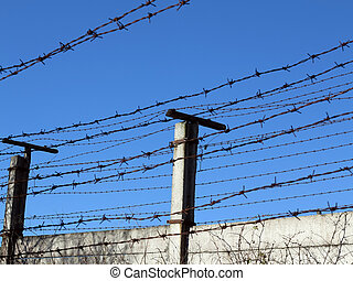 No Admittance - Abstract image of the barbed wire - No...
