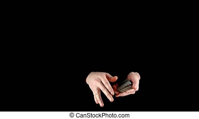 Trick with playing cards - changing the card, on black -...