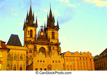 Church of Our Lady in front of Tyn, Prague, Czech Republic -...