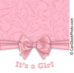 Girl Baby Shower Invitation Card with Pink Bow Ribbon