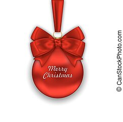 Realistic Christmas Red Ball with Satin Bow Ribbon