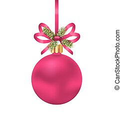 Christmas Pink Ball with Bow Ribbon and Fir Twigs -...