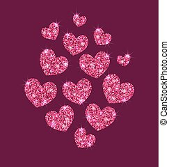 Background for Valentines Day with Shimmering Hearts