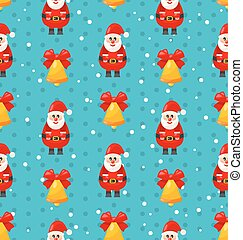 Merry Christmas seamless pattern with Santa and jingle bell...