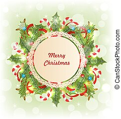 Merry Christmas Card with Traditional Decoration
