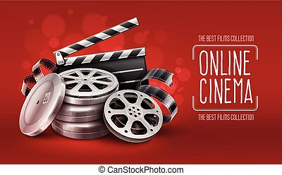 Online cinema with film tape disks in boxes and directors...