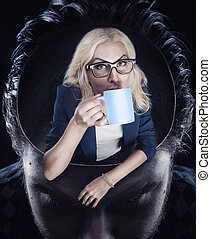 Woman drinking coffee - A psychologist drinking coffee...