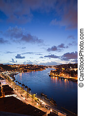 Evening at Douro River in Portugal - Douro river in the...
