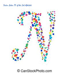 Vector Letter N from Bright Color Ink Blots with Splashes