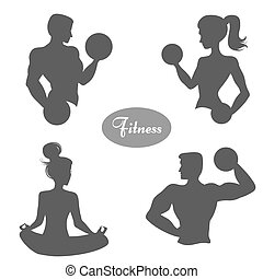 Set of sports/fitness logos.