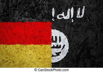 levant,  islamic, estado, Alemanha, Bandeiras, Iraque