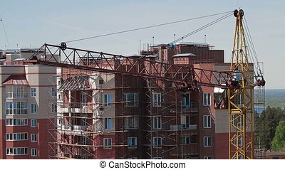 high building crane front new house - high building crane...