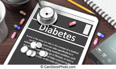 Tablet with quot;Diabetesquot; on screen, stethoscope, pills...