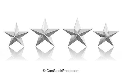 Four silver stars isolated on white background