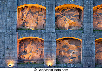 Lit up Niches of Serra do Pilar Monastery in Portugal - Lit...