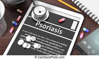 """tableta, de madera, pantalla, """"psoriasis"""", objetos,..."""