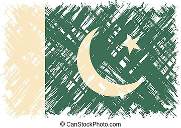 Pakistani grunge flag. Vector illustration. Grunge effect...