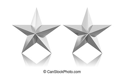 Two silver stars isolated on white background