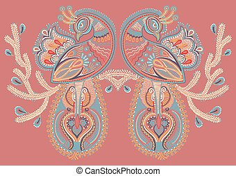 ethnic folk art of two peacock bird with flowering branch...