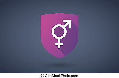 Long shadow shield icon with a transgender symbol -...