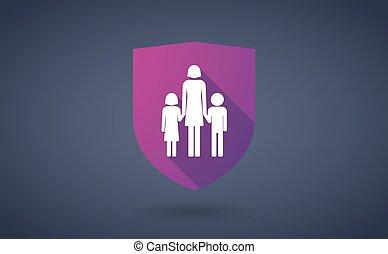 largo, sombra, protector, icono, con, Un, hembra, solo,...