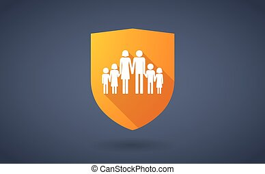 Long shadow shield icon with a large family pictogram -...