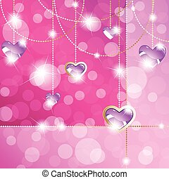 Hot pink background with pendants