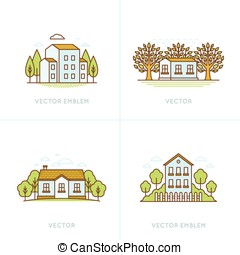 Vector set of logo design templates and emblems in trendy...