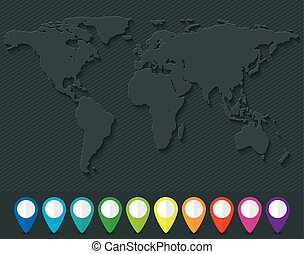 World map and set of colorful map pointers