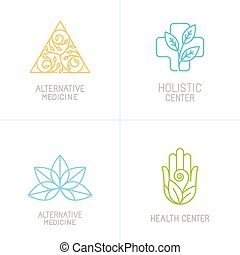 Vector concepts and logo design templates in trendy linear...
