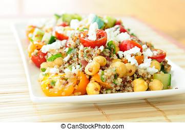 gluten, livre, vegetariano, salada, feito, com, Quinoa,...