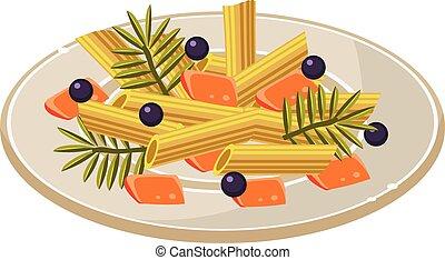 alimento, tallarines,  vector, placa, Ilustración