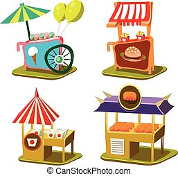 Cart Stall and Ice Cream Vector Illustration