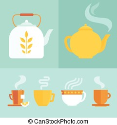 Vector set of icons and illustrations in flat style - tea...