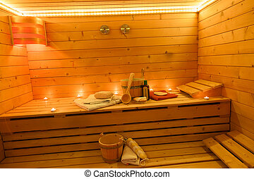 Sauna Interior in the Candlelight - Sauna Interior