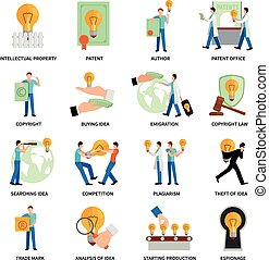 Intellectual Property Icons - Intellectual property flat...