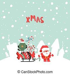 Santas Claus XMas Illustration - Vector Illustration Of...