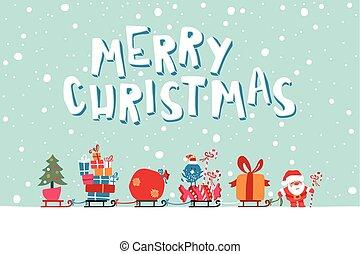 Santas Express illustration - Vector Illustration Of Santa...