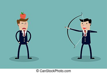 Business executive holding bow and arrow