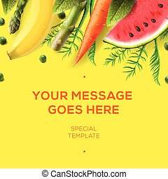 Template with colorful vegetables and fruits
