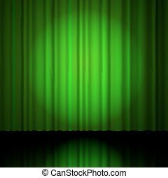 green curtain from the theatre