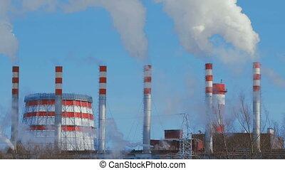 4K Timelapse smoking power plant