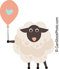 Cute sheep with a sign for text flat style