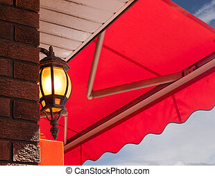 Cafe Light - Cafe light and red awning