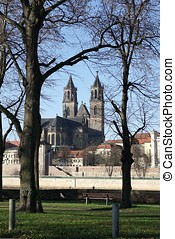 Magdeburg - The Magdeburg Cathedral, the landmark of the...