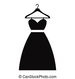 Dress on a hanger simple icon isolated on white background